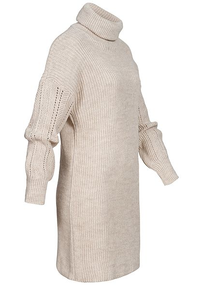 Hailys Damen Mini Rollkragen Strickkleid mit Pufferärmeln beige