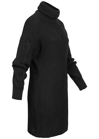 Hailys Damen Mini Rollkragen Strickkleid mit Pufferärmeln schwarz
