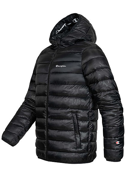 Champion Herren Winter Nylon Steppjacke Kapuze 2-Pockets schwarz