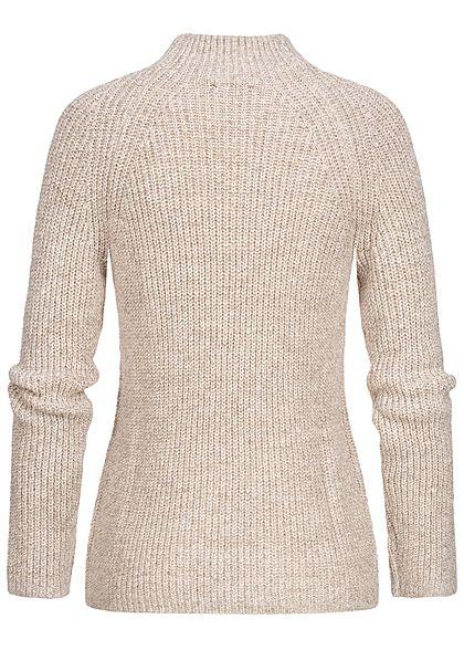 Tom Tailor Damen High-Neck Strickpullover Sweater hell warm beige melange