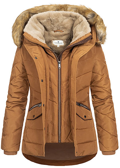 Tom Tailor Damen Winter Steppjacke Kunstfellkapuze 2-Pockets chestnut braun - Art.-Nr.: 20110254