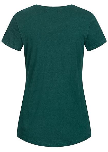 Tom Tailor Damen T-Shirt mit Stickerei Good Wines Only deep lake dunkel grün