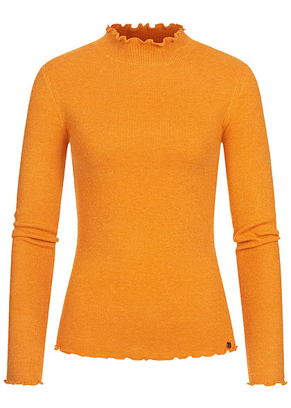Tom Tailor Damen High-Neck Longsleeve mit Frill Details am Saum orange gelb
