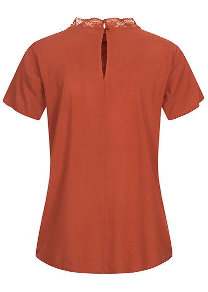Tom Tailor Damen High-Neck Kurzarm Blusenshirt mit Spitze oben rost braun