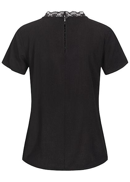 Tom Tailor Damen High-Nec Kurzarm Blusenshirt mit Spitze oben tief schwarz