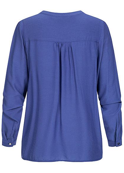 Tom Tailor Damen Basic V-Neck Langarm Bluse Vokuhila Knopf Manschetten ultramarine blau