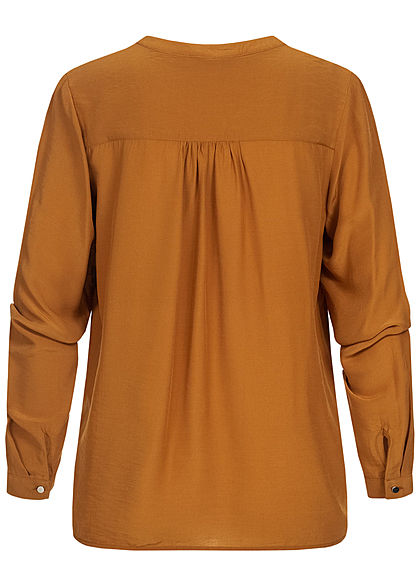 Tom Tailor Damen Basic V-Neck Langarm Bluse Vokuhila Knopf Manschetten tawny braun