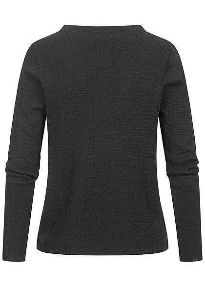 Tom Tailor Damen Basic Stehkragen Pullover atmungsaktiv tief schwarz