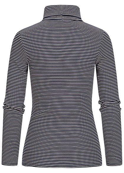 Tom Tailor Damen Ribbed Rollkragen Pullover Longsleeve Streifen Muster navy creme
