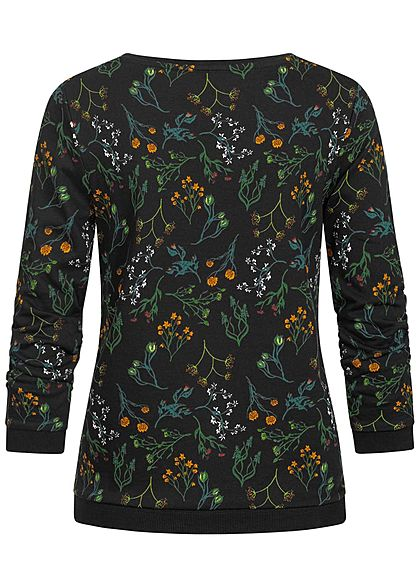 Tom Tailor Damen 3/4 Raffarm Pullover Blumen Muster Rippbündchen schwarz multic.
