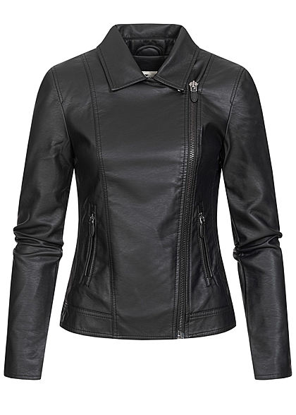 Tom Tailor Damen Kunstleder Biker Jacke asymmetrischer Zipper 2-Pockets schwarz