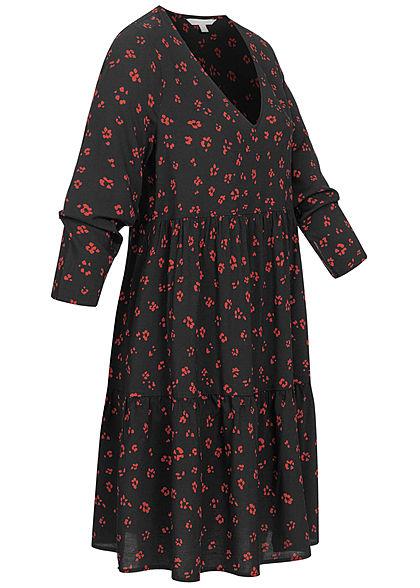 Tom Tailor Damen 3/4 Arm V-Neck Babydoll Kleid Blumen Muster Volantärmel schwarz rot