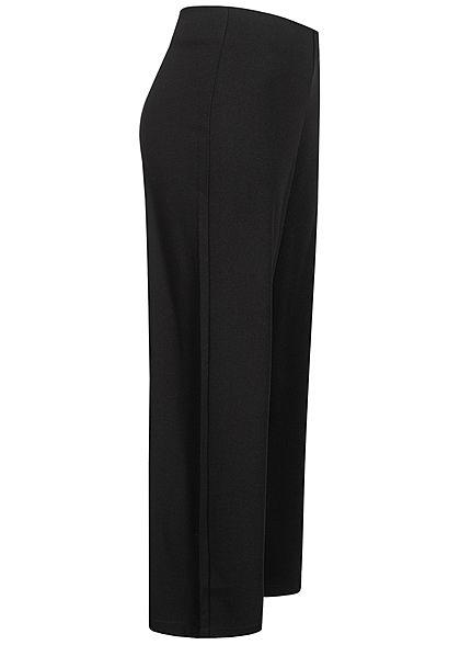 Tom Tailor Damen Ankle Culotte Stoffhose Mid-Waist elastischer Bund schwarz