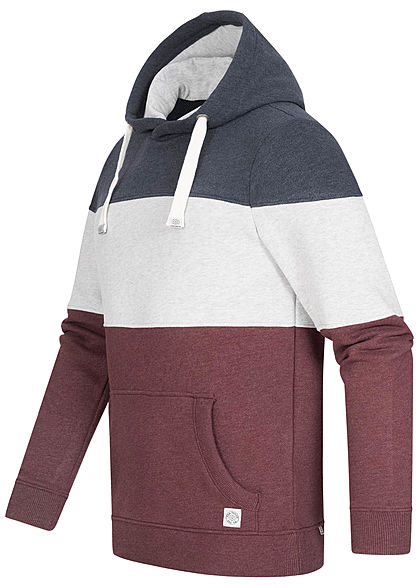 Tom Tailor Herren Colorblock Hoodie Kapuze Kängurutasche Tunnelzug wildberry rot blau