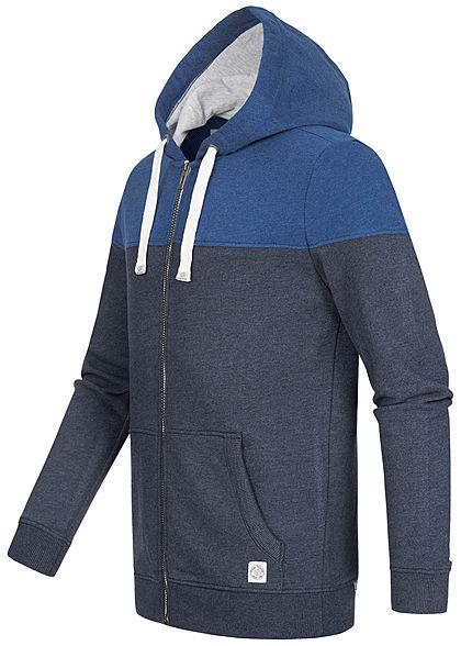 Tom Tailor Herren 2-Tone Sweat Zip-Hoodie Jacke Kapuze 2-Pockets sky captain blau