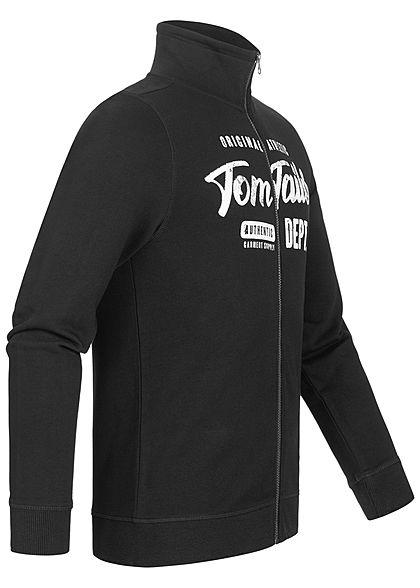 Tom Tailor Herren Sweatjacke Mit Logo Print & Stehkragen Zipper schwarz weiss