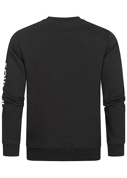Southpole Herren Sweater mit Logo Stickerei vorne & Print am Ärmel schwarz weiss