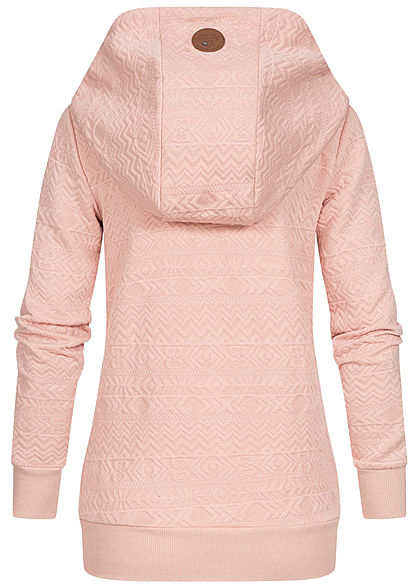 Hailys Damen Struktur Hoodie überlappende Kapuze 2-Pockets hell rosa