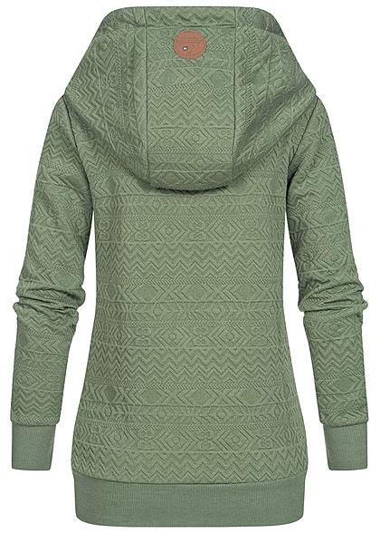 Hailys Damen Struktur Hoodie überlappende Kapuze 2-Pockets hedge grün