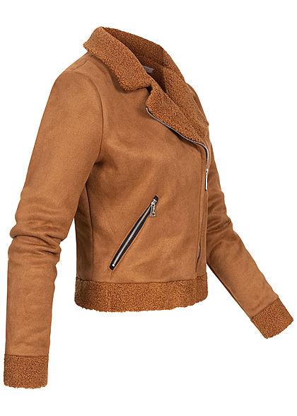 Hailys Damen kurze Teddyfleece Jacke mit Deko Zippertaschen in Velouroptik caramel braun