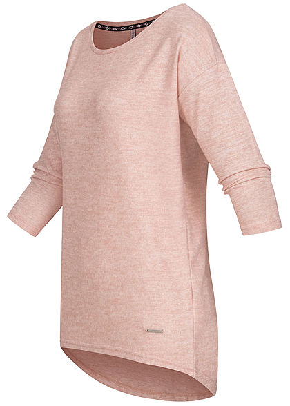 Hailys Damen 3/4 Arm Vokuhila Shirt Soft-Touch unicolor rosa melange