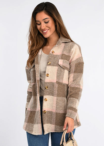 Hailys Damen Oversized Woll Jacke Karo Muster Knopfleiste 2 Brusttaschen beige rosa