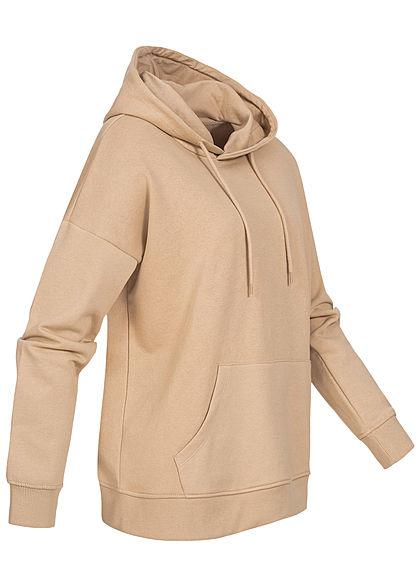 ONLY Damen NOOS Oversized Sweat Hoodie Kapuze Tunnelzug Kängurutasche humus beige