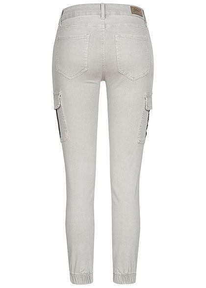 ONLY Damen NOOS Ankle Cargo Jeans 6-Pockets Regular Waist hell grau gray denim
