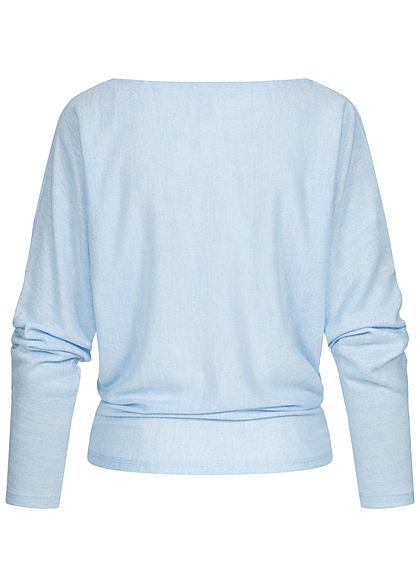 Hailys Damen Soft-Touch Fledermausarm Pullover Longsleeve hell blau melange