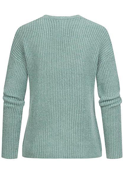 Tom Tailor Damen V-Neck Struktur Strickpullover Sweater salvia grün melange