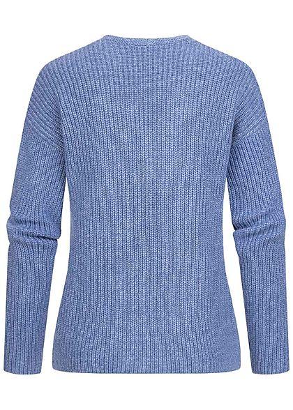 Tom Tailor Damen V-Neck Struktur Strickpullover Sweater blueberry blau melange