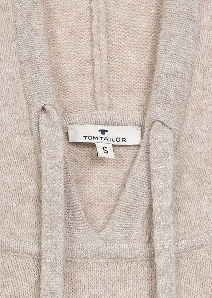 Tom Tailor Damen Lurex Hoodie Kapuze Glitzerdetails am Saum Rippbündchen warm beige mel