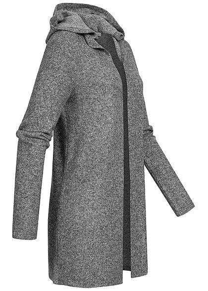 Tom Tailor Damen Midi Cardigan mit Kapuze Wasserfallkragen offener Schnitt alloy grau mel