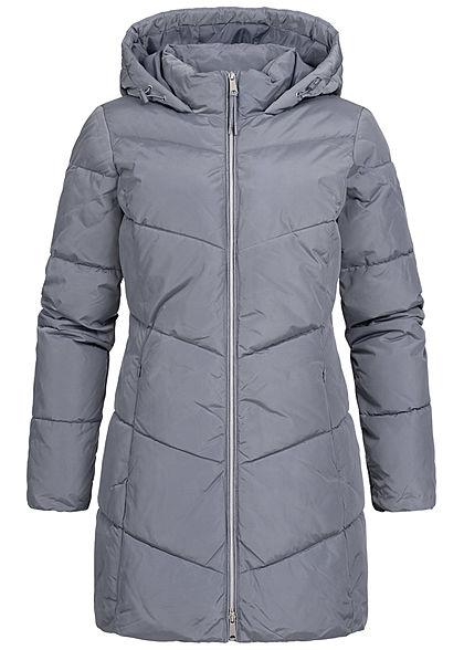Tom Tailor Damen Winter Mantel Steppjacke Kapuze 2-Pockets dove grau