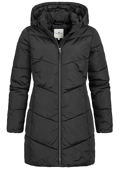 Tom Tailor Damen Winter Mantel Steppjacke Kapuze 2-Pockets tief schwarz - Art.-Nr.: 20110326