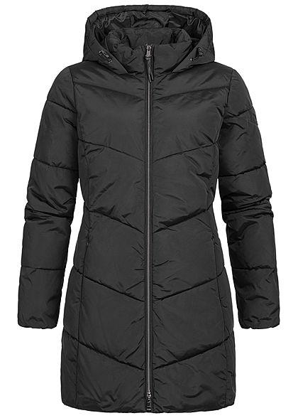 Tom Tailor Damen Winter Mantel Steppjacke Kapuze 2-Pockets tief schwarz