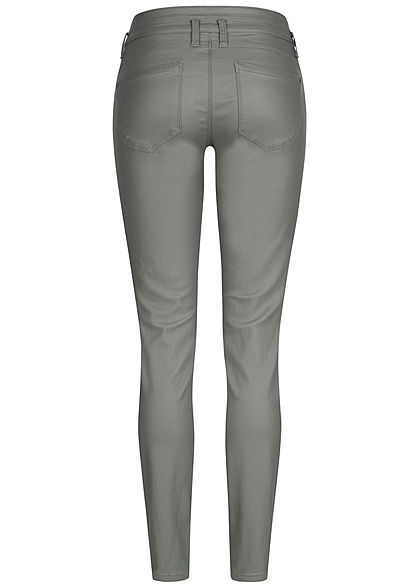Tom Tailor Damen Skinny Kunstleder Hose 5-Pockets Regular Waist greyish grün