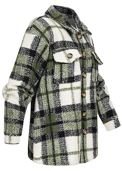 Hailys Damen Oversized Woll Jacke Karo Muster Knopfleiste 2 Brusttaschen khaki weiss