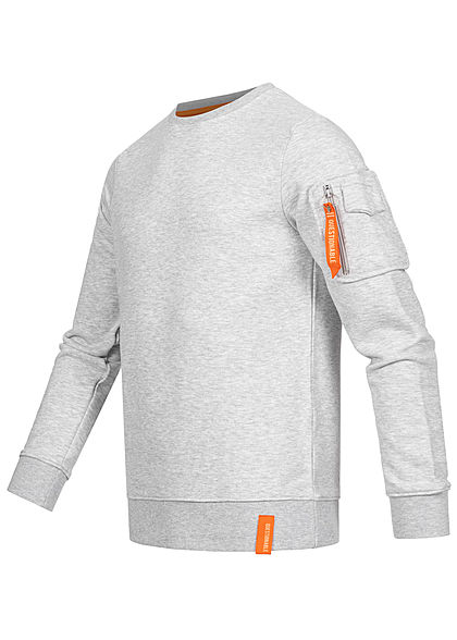 Stitch & Soul Herren Sweater Pullover Zipfach am Ärmel Rippblenden grau melange