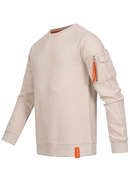 Stitch & Soul Herren Sweater Pullover Zipfach am Ärmel Rippblenden light sand beige