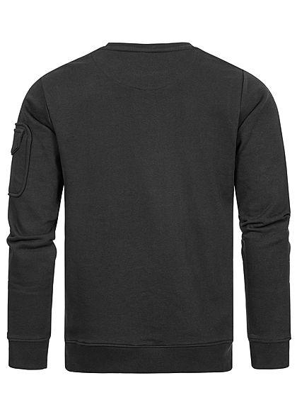 Stitch & Soul Herren Sweater Pullover Zipfach am Ärmel Rippblenden schwarz