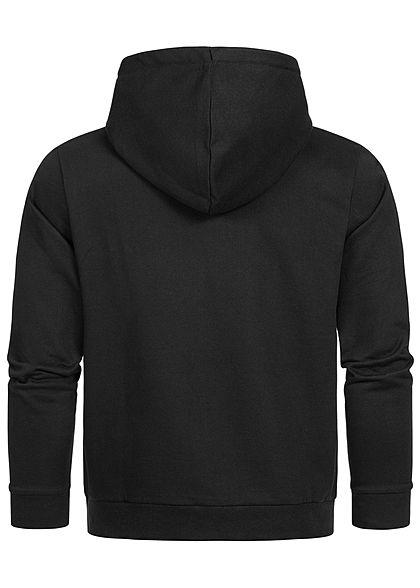 Seventyseven Lifestyle Herren Sweat Hoodie Kapuze Logo Print Kängurutasche schwarz weiss
