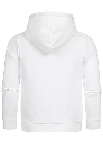 Seventyseven Lifestyle Herren Sweat Hoodie Kapuze Logo Print Kängurutasche weiss schwarz