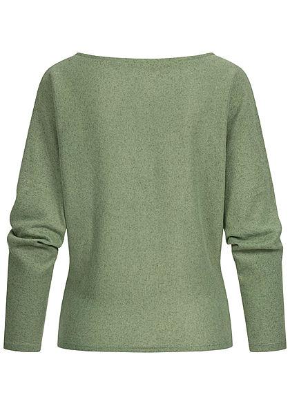 Hailys Damen Soft-Touch Fledermausarm Pullover Longsleeve hedge grün melange