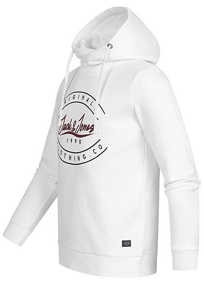 Jack and Jones Herren Sweat Hoodie überlappende Kapuze Logo Print cloud dancer weiss