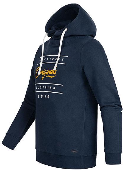 Jack and Jones Herren Sweat Hoodie überlappende Kapuze Logo Print blazer navy blau