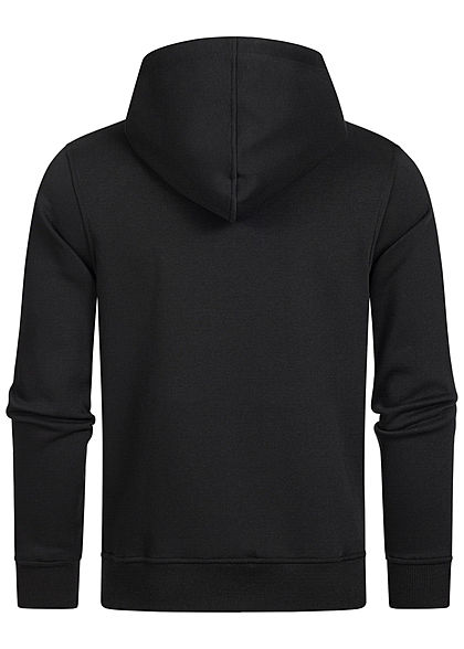 Jack and Jones Herren Sweat Hoodie Kapuze Kängurutasche Logo Print schwarz