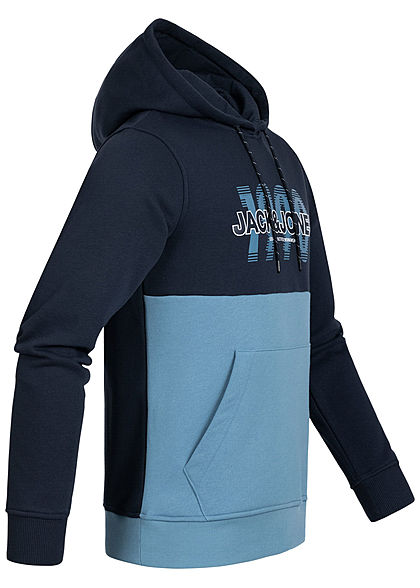 Jack and Jones Herren Sweat Hoodie Kapuze Kängurutasche Logo Print blazer navy blau