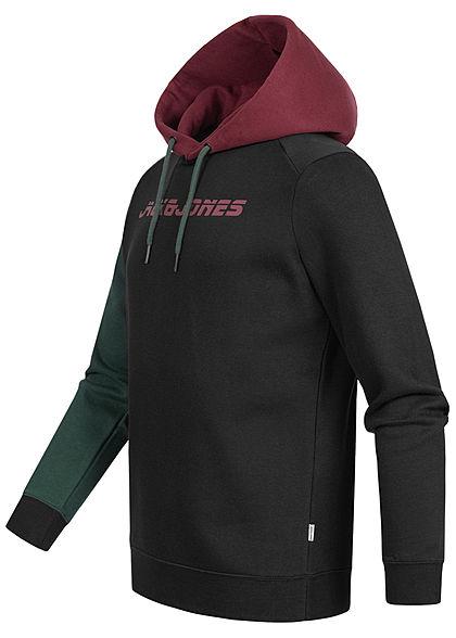 Jack and Jones Herren 2-Tone Sweat Hoodie Kapuze Logo Print schwarz bordeaux rot