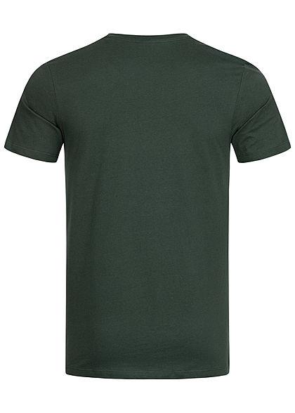 Jack and Jones Herren T-Shirt Slim Fit mit Logo Print darkest spruce grün orange